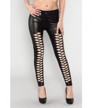 Black Pleather Laser Cut Leggings