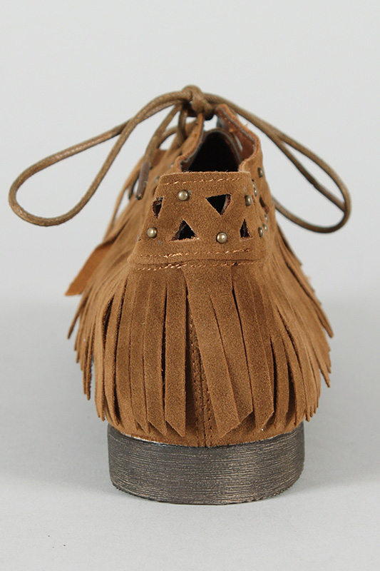 Breckelle Sandy-64 Fringe Lace Up Ankle Bootie
