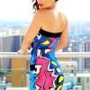 Multi Color Strapless Dress