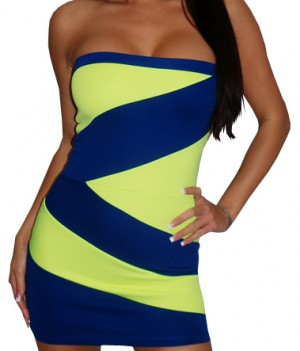 Neon Yellow Blue Strapless Sexy Mini Dress
