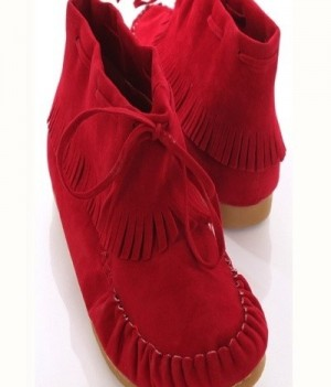 Noka-02 Faux Suede Stitched Fringe Trim Flat Booties Ruby