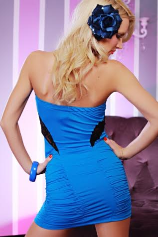 Royal Lacey Peep Show Ruched Tube Dress