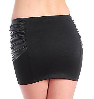 Sexy Shirred Hipster Black Mini- Skirt