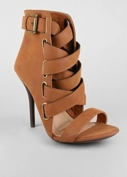 Skyle Lace Up High Heel Ankle Booties Tan