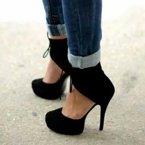 Special-71 Velvet Lace Up Ankle Platform Heels Black
