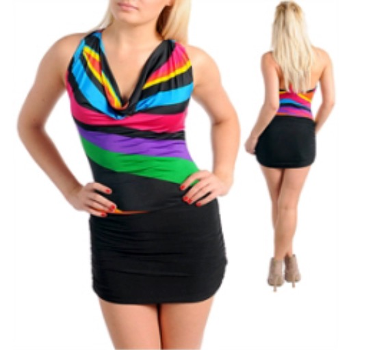 Multi Drape Front T Strap Back Ruched Sexy Dress