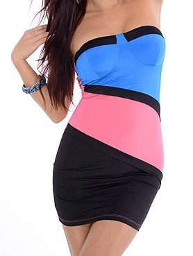 Color Block sexy Strapless Dress