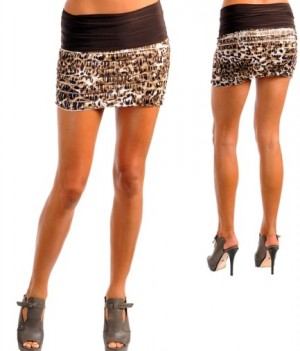 Brown Black Cute Floral Folded Tiered mini Skirt